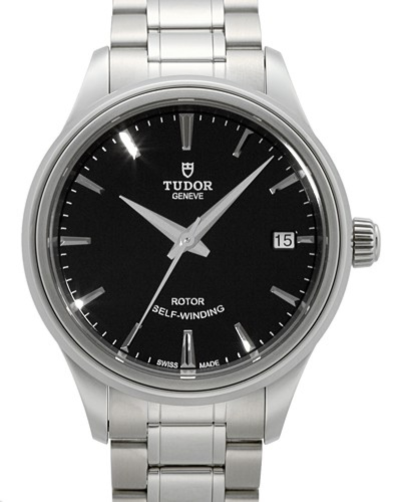 Fake Tudor Style 34mm Black Dial Steel Strap Ladies Watch