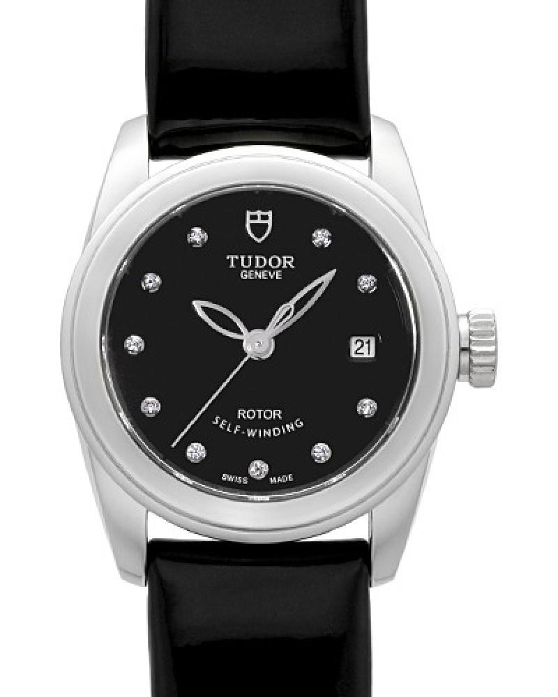 Fake Tudor Glamour Date 26mm Black Dial Calfskin Strap Ladies Watch