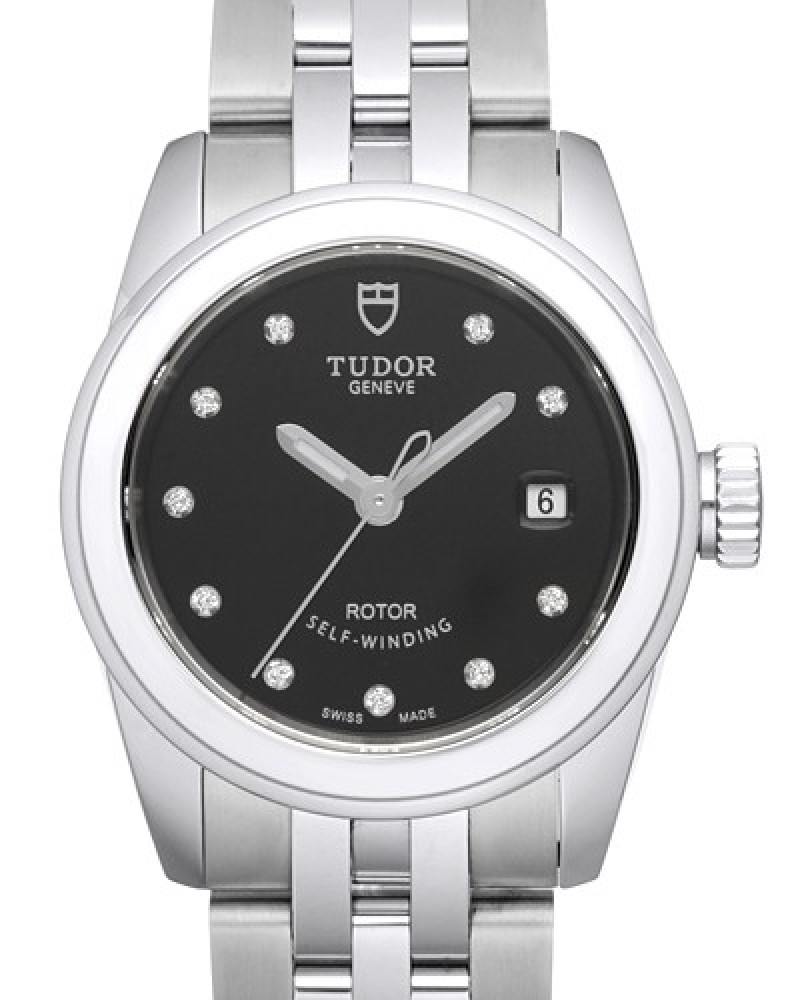Fake Tudor Glamour Date 26mm Black Dial Stee Strap Ladies Watch
