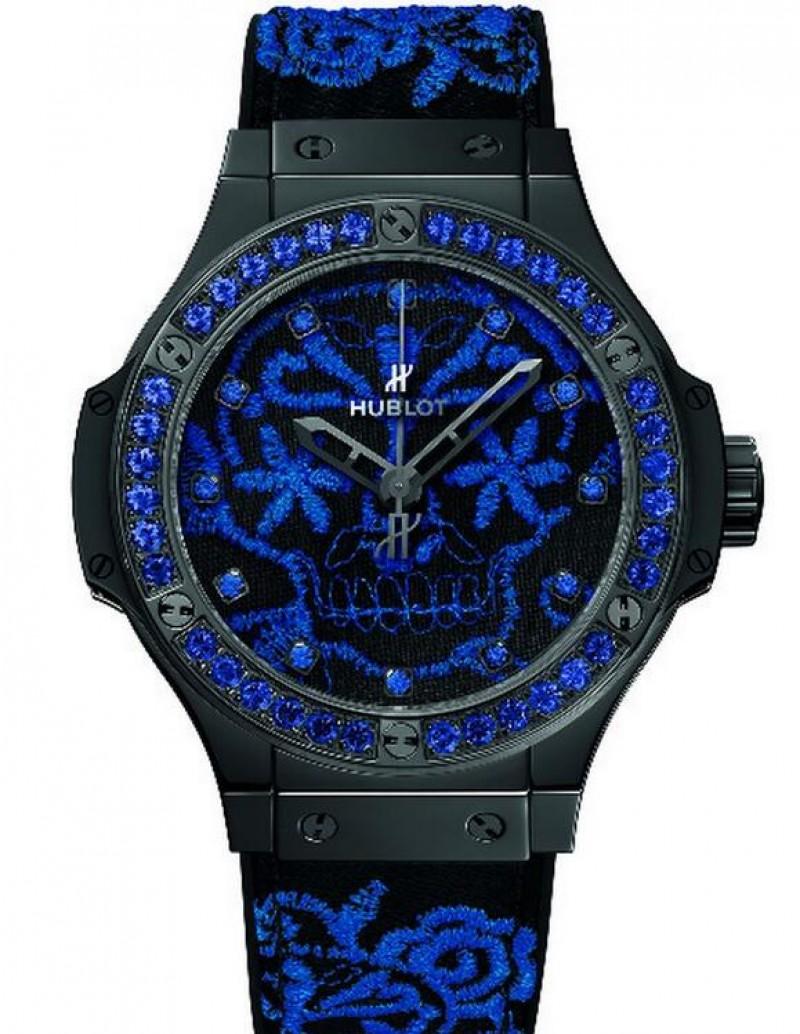 Fake Hublot Big Bang Broderie Sugar Skull Fluo Cobalt Blue 41mm Watch 343.CL.6590.NR.1201