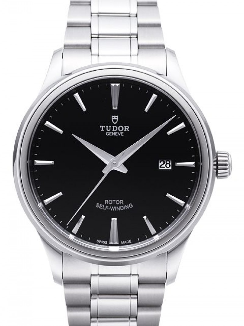Fake Tudor Style 41mm Black Dial Steel Strap Mens Watch