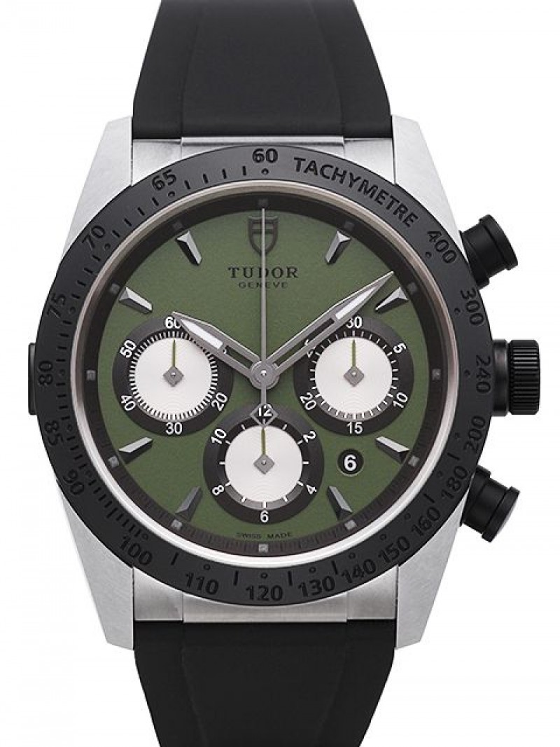 Fake Tudor Fastrider Chronograph Green Dial Rubber Strap Mens Watch