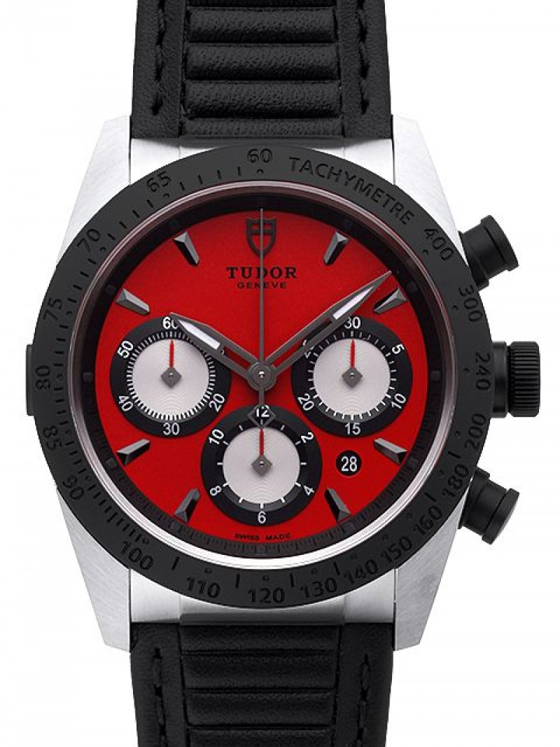 Fake Tudor Fastrider Chronograph Red Dial Calfskin Strap Mens Watch