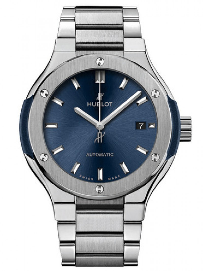 Fake Hublot Classic Fusion Bracelet Blue Watch 33mm 585.NX.7170.NX