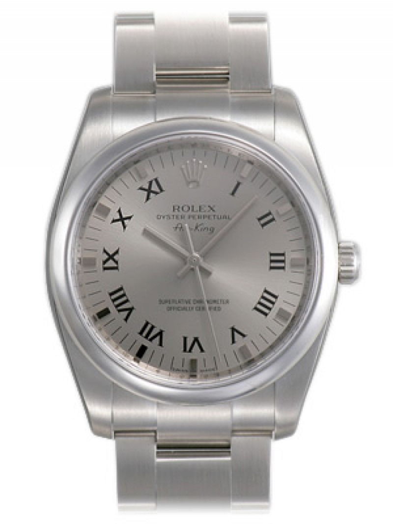 Fake Rolex Air king Silver Roman Dial Mens Watch 114200SRO