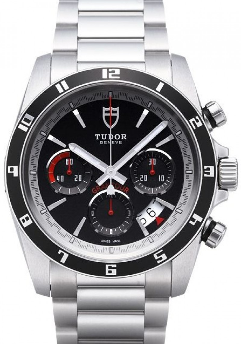 Fake Tudor Grantour Chrono Bay Black Dial Steel Strap Mens Watch
