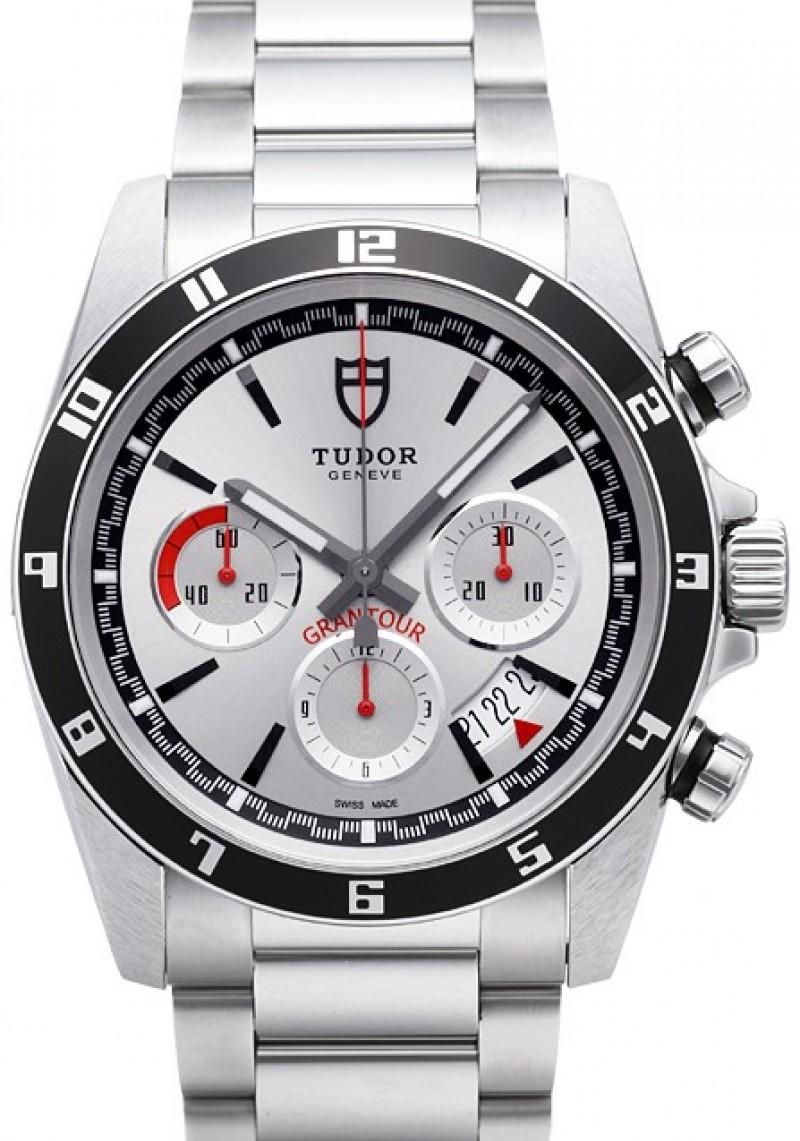 Fake Tudor Grantour Chrono Silver Dial Steel Strap Mens Watch