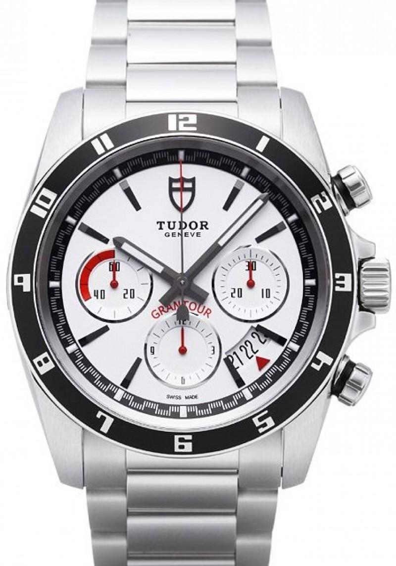 Fake Tudor Grantour Chrono White Dial Steel Strap Mens Watch
