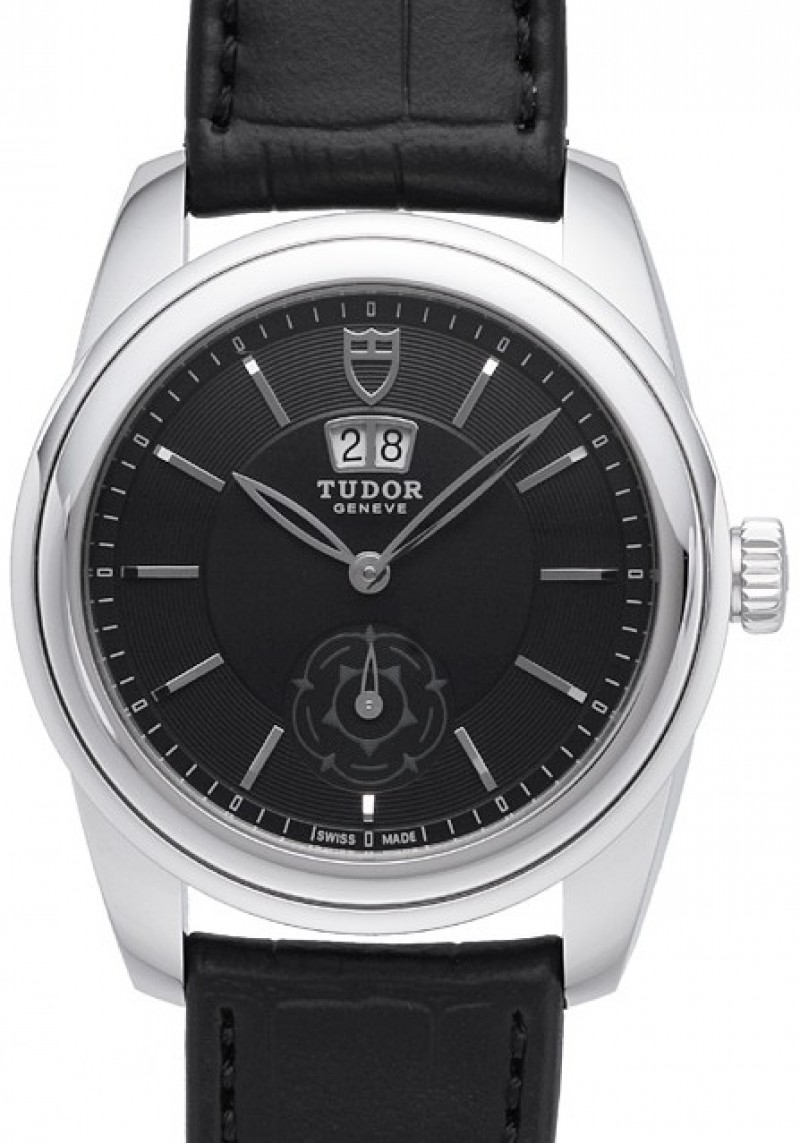 Fake Tudor Glamour Double Date 42mm Black Dial Folding Clasp Mens Watch