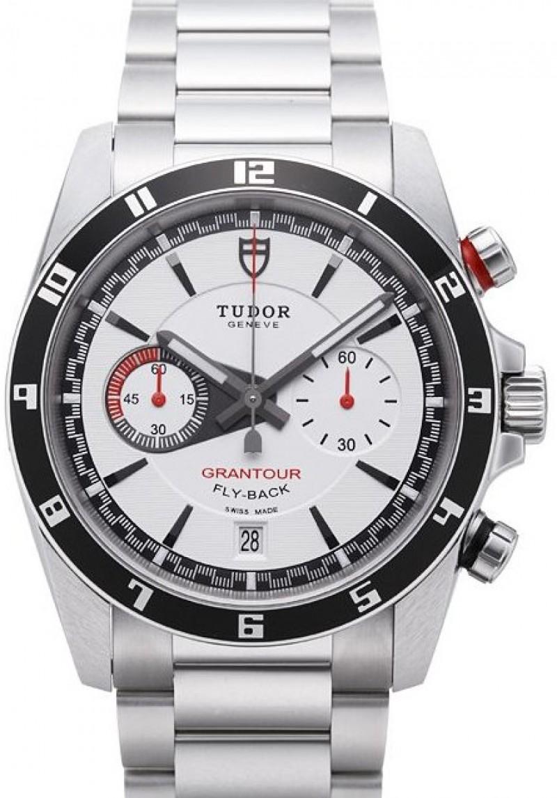 Fake Tudor Grantour Chrono Fly Back White Dial Steel Strap Mens Watch