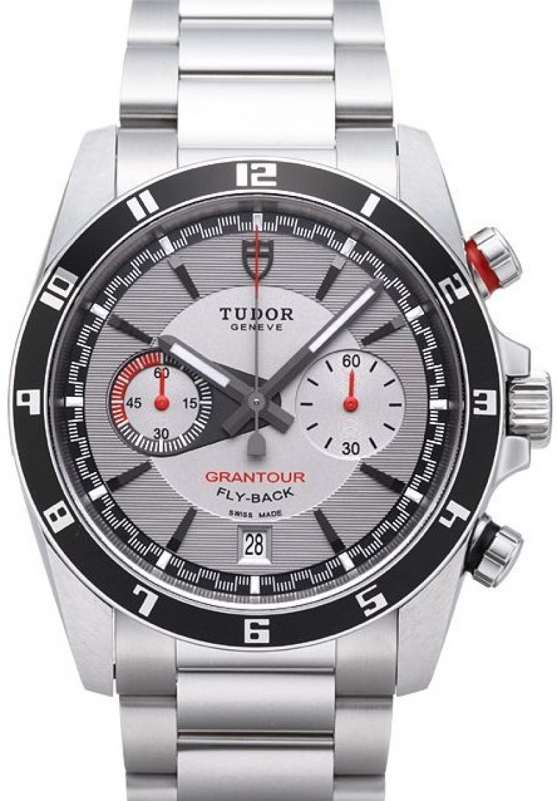 Fake Tudor Grantour Chrono Fly Back Grey Dial Steel Strap Mens Watch