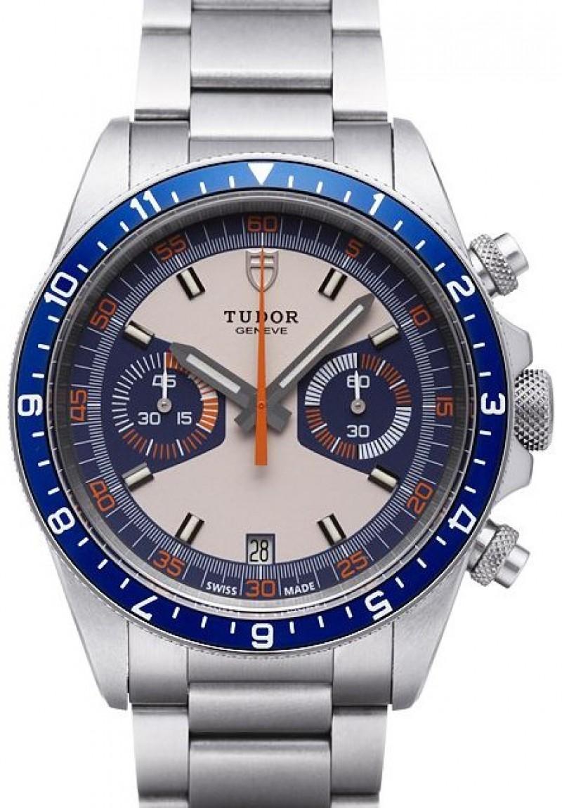 Fake Tudor Heritage Chrono Blue Grey Dial Steel Strap Mens Watch