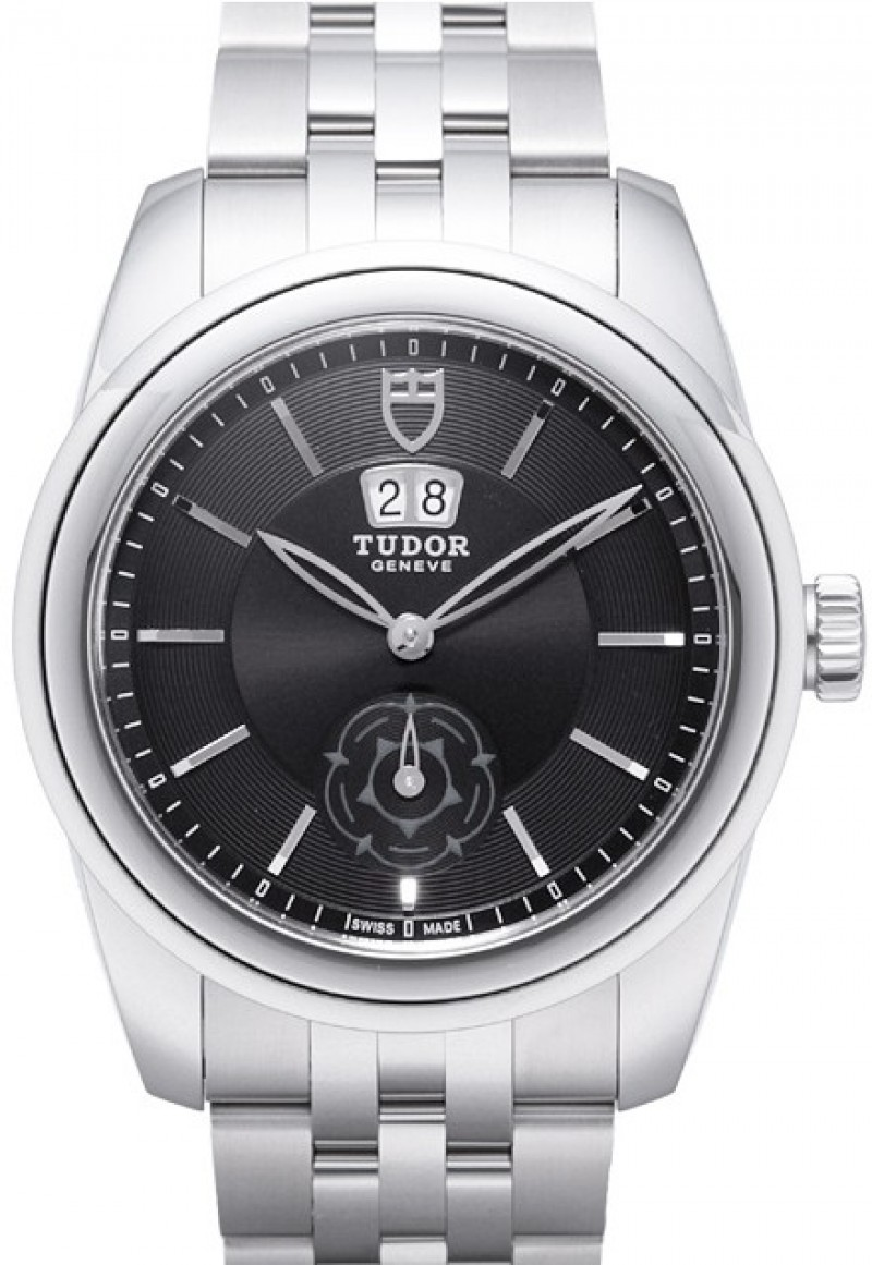 Fake Tudor Glamour Double Date 42mm Black Dial Steel Strap Mens Watch