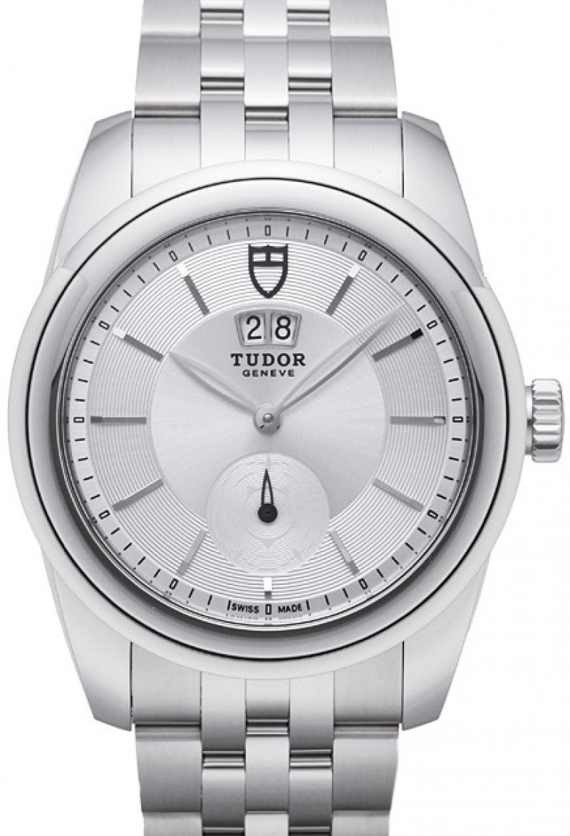 Fake Tudor Glamour Double Date 42mm Silver Dial Steel Strap Mens Watch