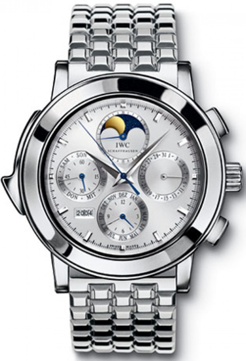 Fake IWC Grande Complication Silver Dial Chronograph Platinum Mens Watch IW927016