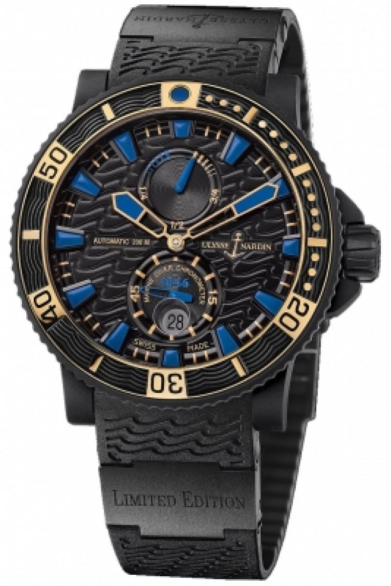 Fake Ulysse Nardin Maxi Marine Diver Black Sea Mens Watch 263-92LE-3C/923-RG
