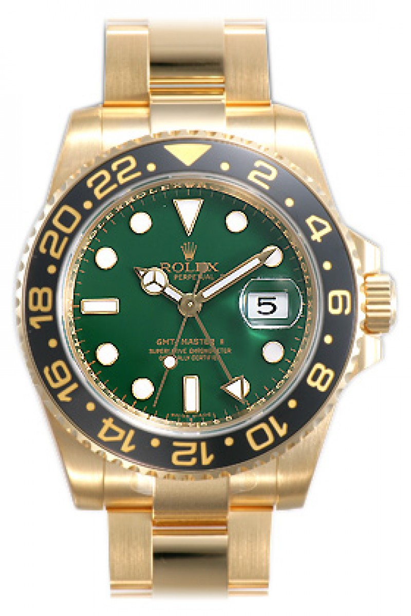 Fake Rolex GMT Master II Green Dial Mens Watch 116718GSO