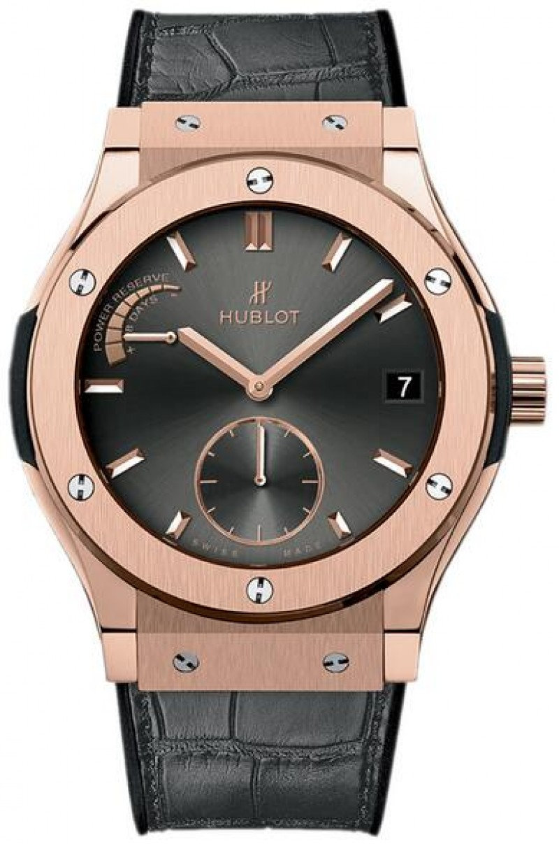 Fake Hublot Classic Fusion Racing Grey Power Reserve King Gold 45mm 516.OX.7080.LR