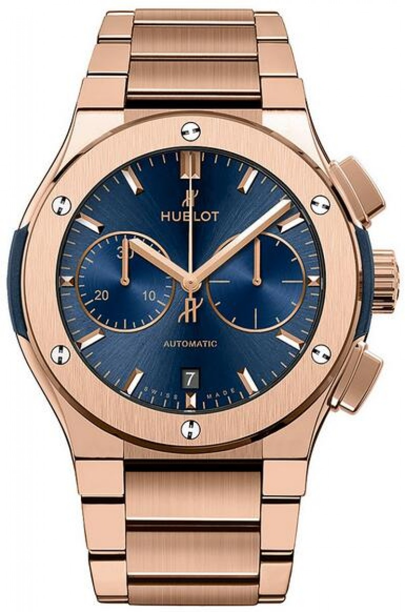 Fake Hublot Classic Fusion Blue Chronograph King Gold Bracelet 520.OX.7180.OX