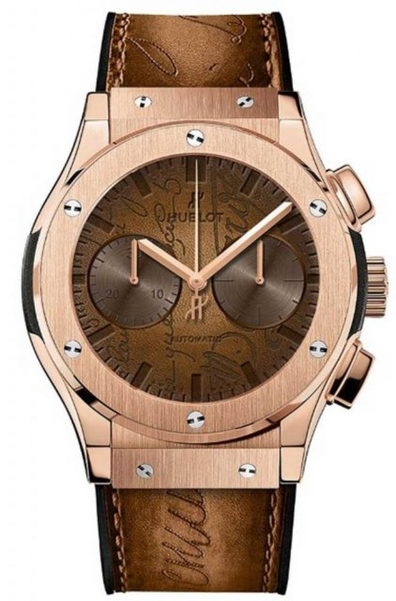 Fake Hublot Classic Fusion Chronograph Berluti Scritto King Gold 45mm 521.OX.0500.VR.BER17
