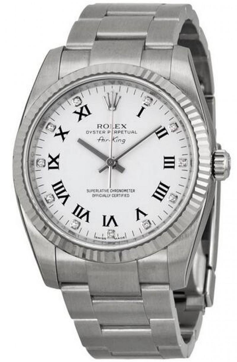 Fake Rolex Air King White Diamonds Dial Automatic Mens Watch 114234WDO