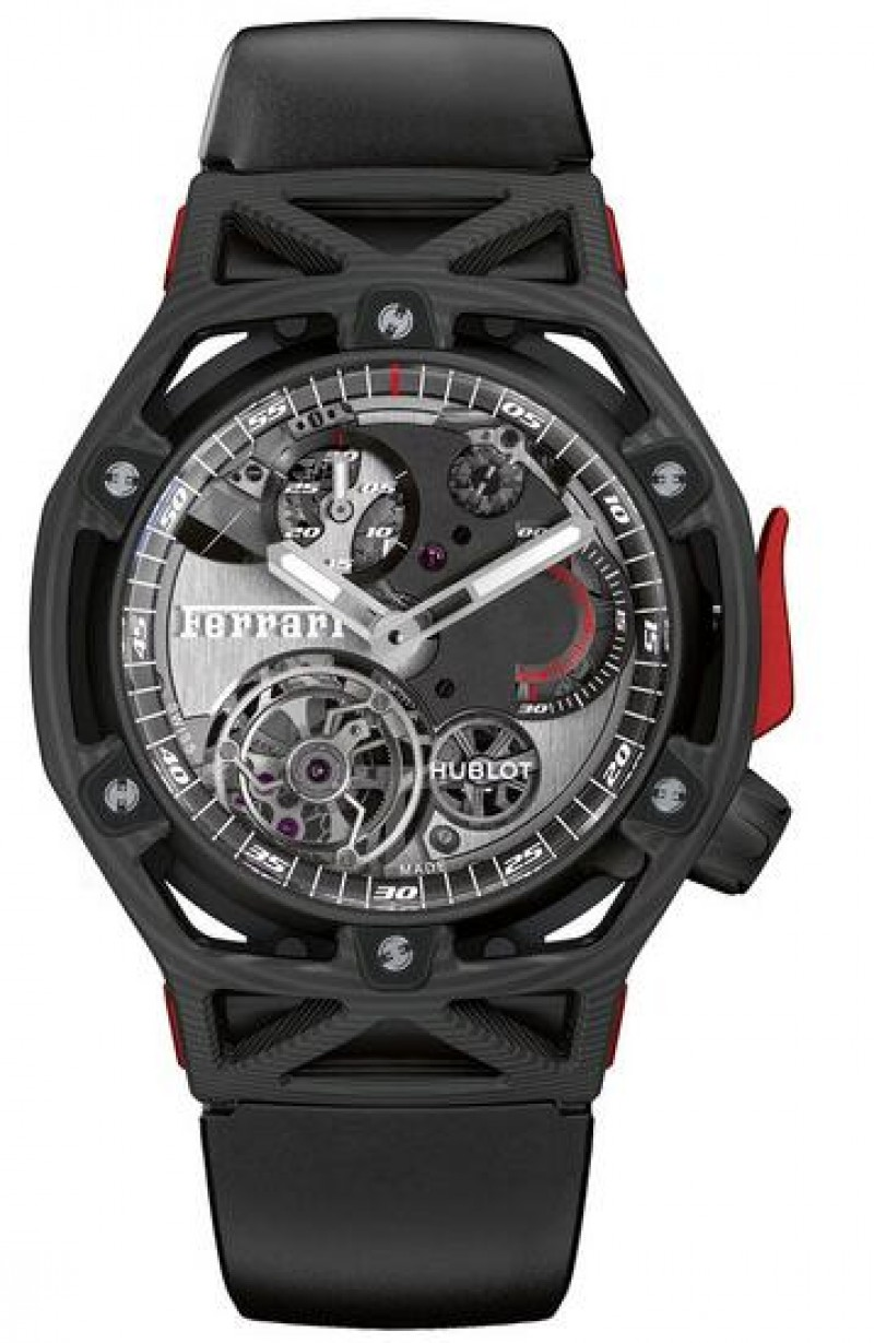 Replica Hublot Techframe Ferrari Tourbillon Chronograph Carbon 45mm 408.QU.0123.RX