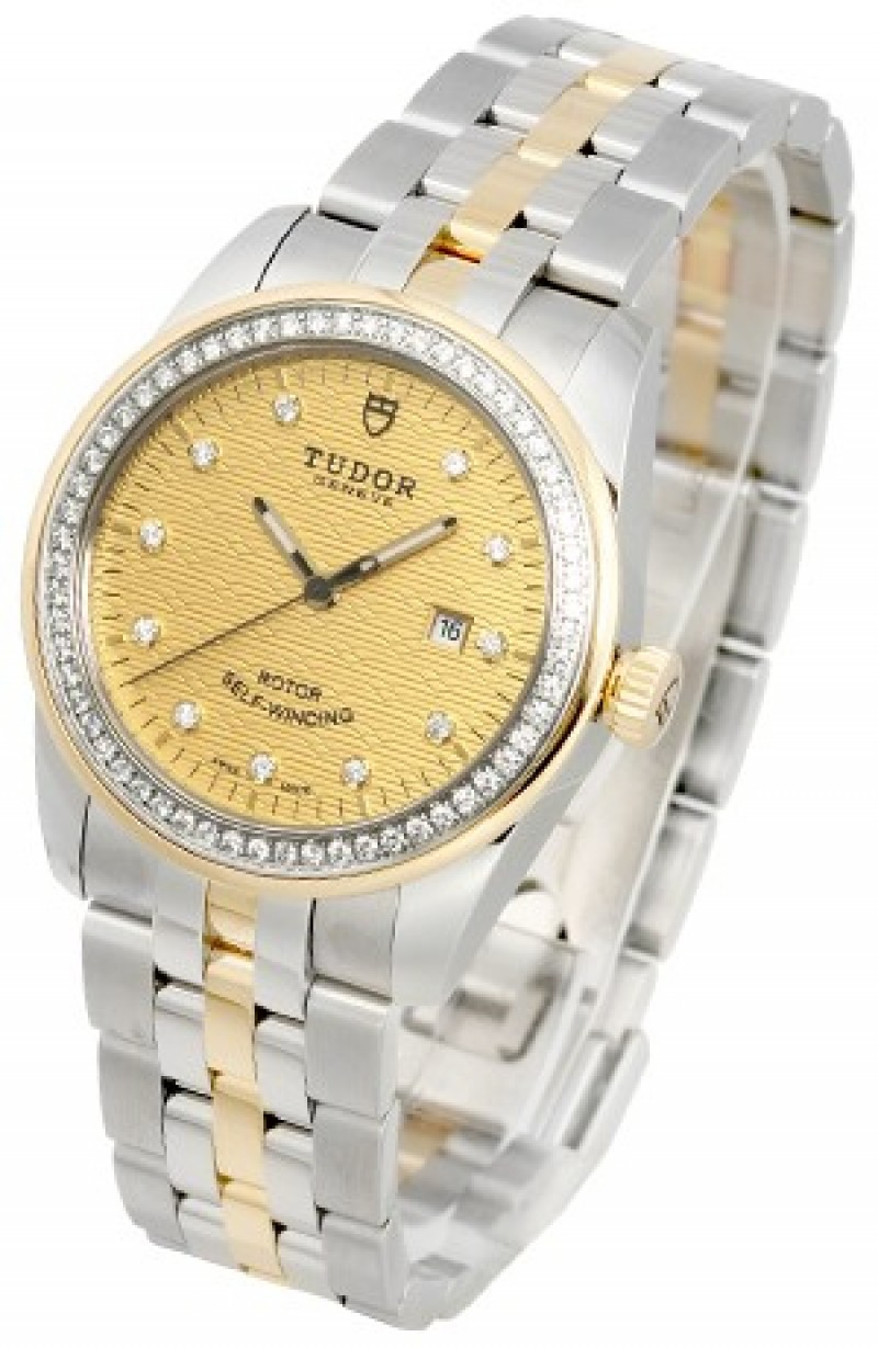 Fake Tudor Glamour Date 31mm Mother-Of-Pearl Dial Steel Strap Ladies Watch