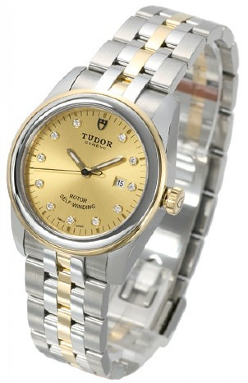 Fake Tudor Glamour Date 31mm Champagne Dial Steel Yellow Gold Strap Ladies Watch