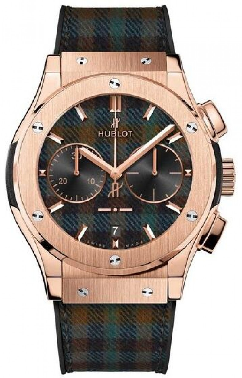 Fake Hublot Classic Fusion Chronograph Italia Independent Tartan King Gold 45mm 521.OX.2705.NR.ITI17