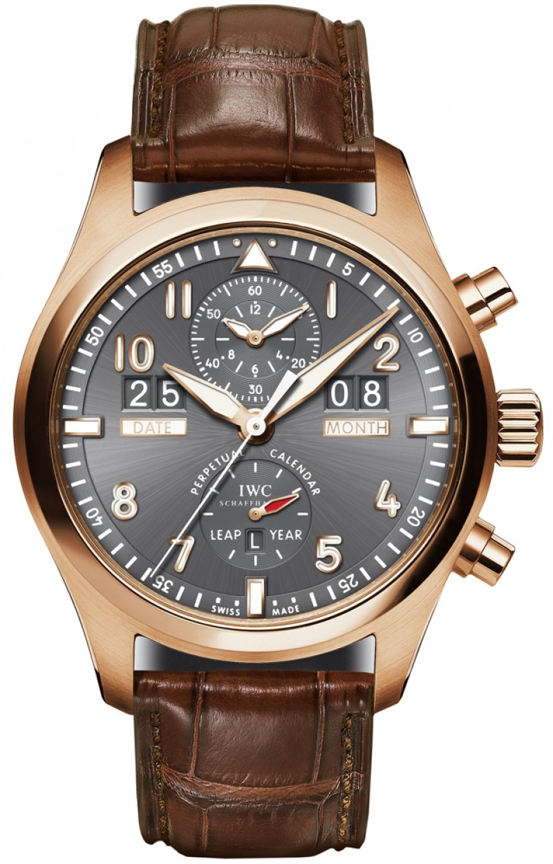Fake IWC Pilot's Spitfire Grey Dial Mens Watch IW379103