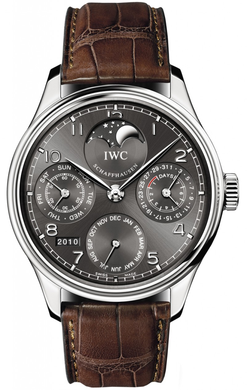Fake IWC Portuguese Grey Dial 18kt White Gold Automatic Mens Watch IW502307