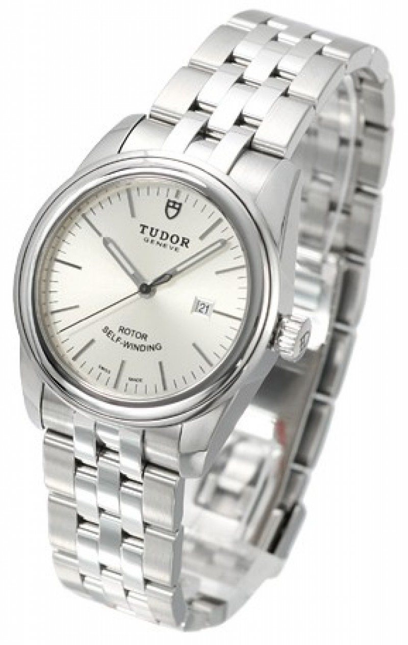 Fake Tudor Glamour Date 31mm Silver Dial Steel Strap Ladies Watch