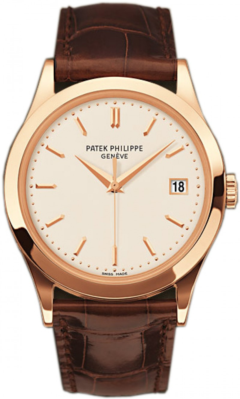 Replica Patek Philippe Calatrava Silver Dial 18kt Rose Gold Brown Leather Mens Watch 5296R-010