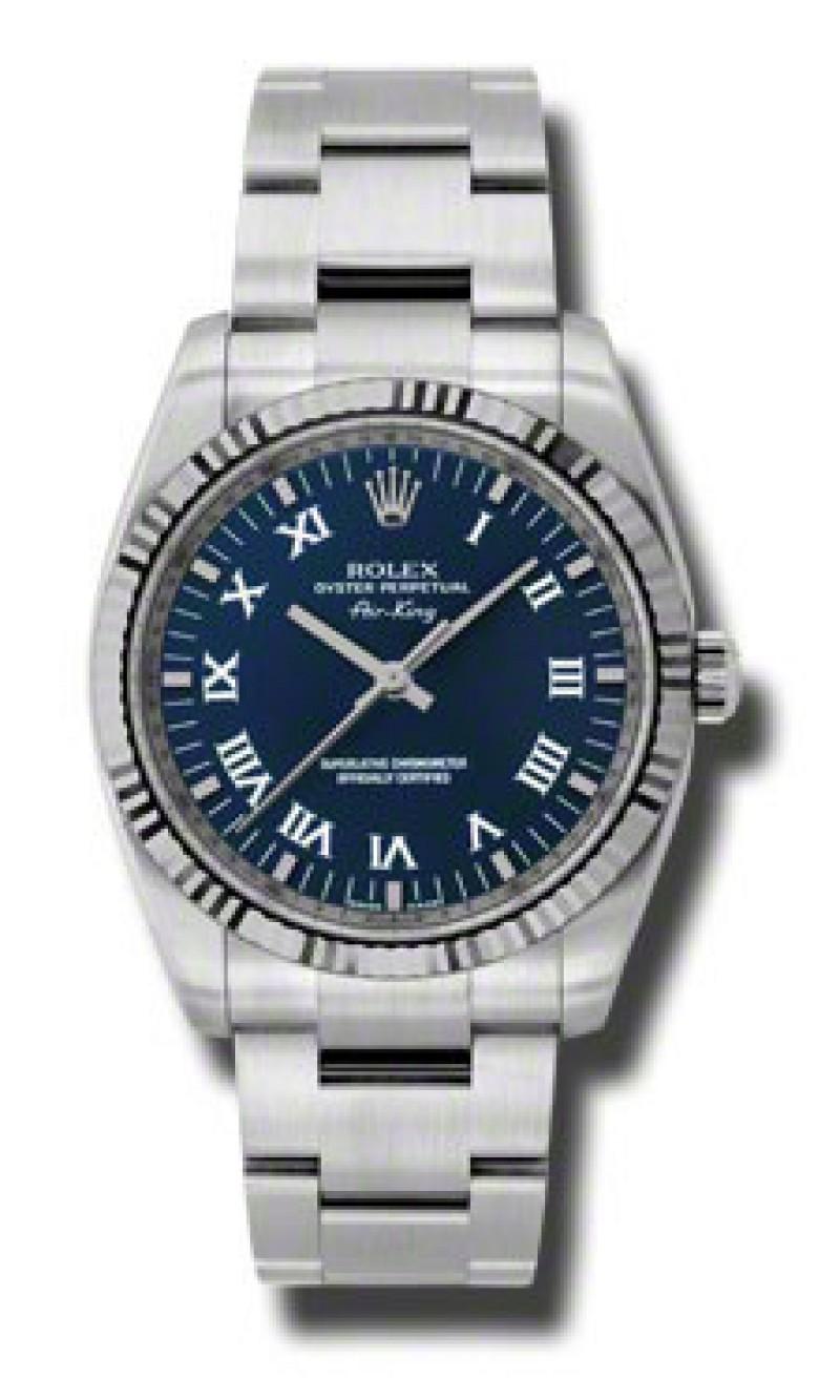 Fake Rolex Air king Blue Roman Dial Mens Watch 114234BLRO
