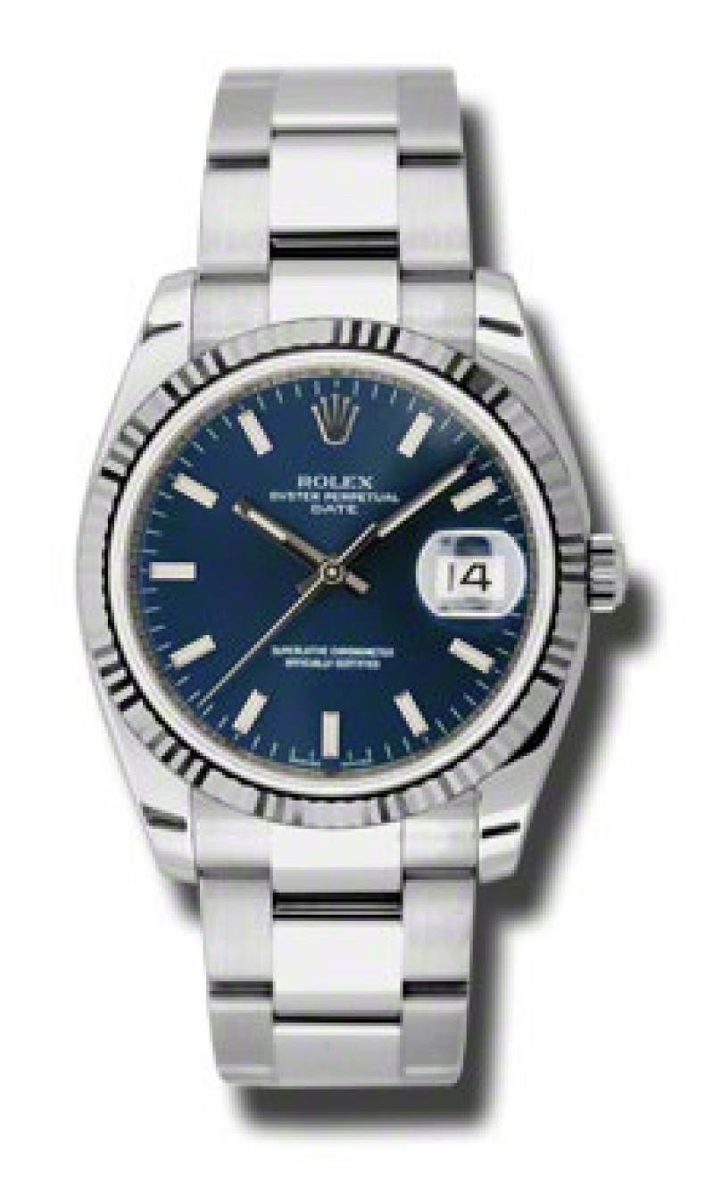 Fake Rolex Date Blue Stick Dial Mens Watch 115234BLSO