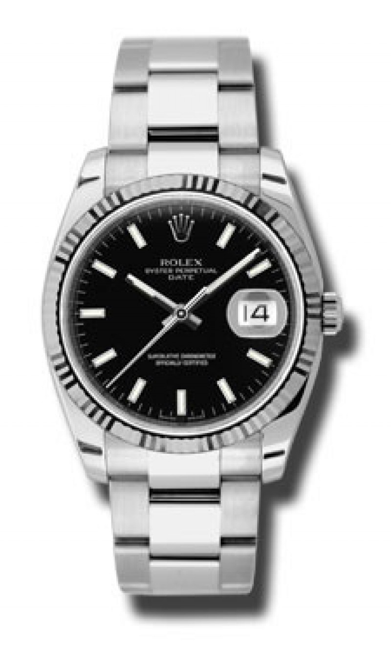 Fake Rolex Date Black Dial Mens Watch 115234BKSO