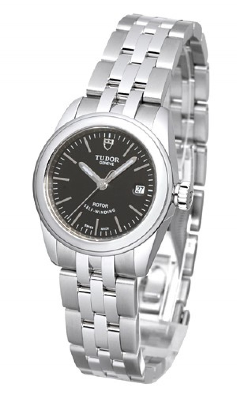 Fake Tudor Glamour Date 26mm Black Dial Steel Strap Ladies Watch