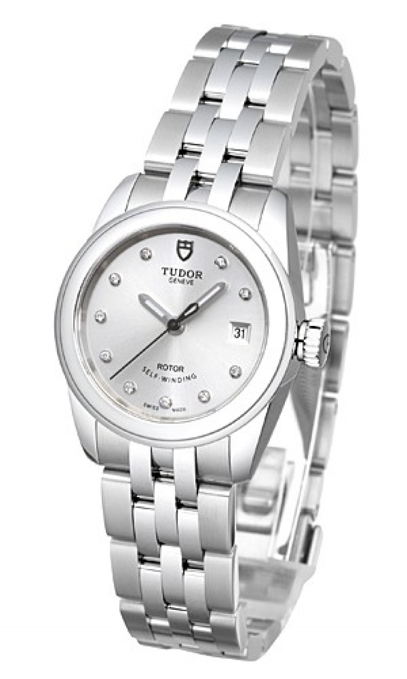 Fake Tudor Glamour Date 26mm Silver Dial Steel Strap Ladies Watch