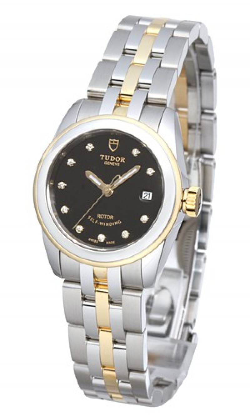 Fake Tudor Glamour Date 26mm Black Dial Steel Yellow Gold Strap Ladies Watch