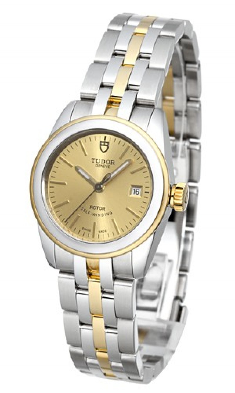 Fake Tudor Glamour Date 26mm Champagne Dial Yellow Gold Strap Ladies Watch