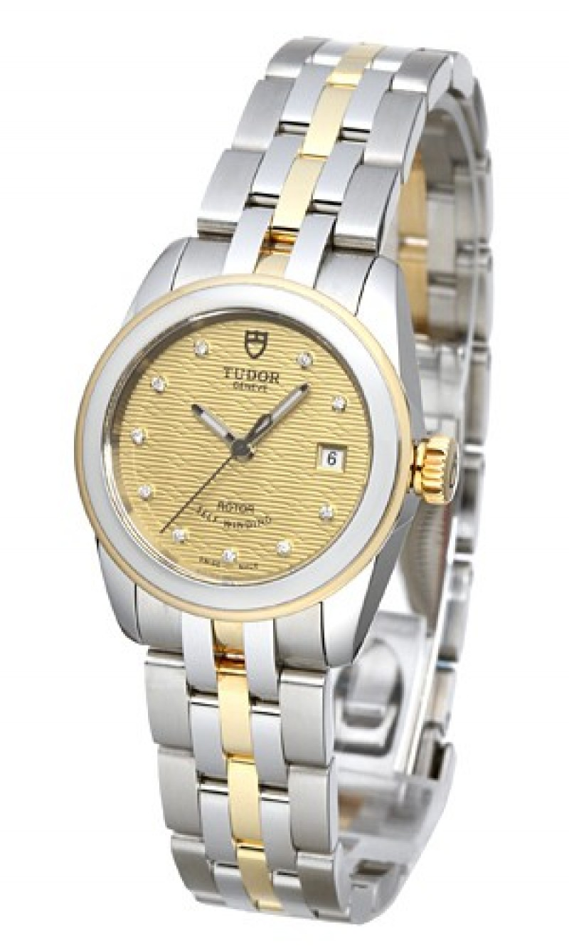Fake Tudor Glamour Date 26mm Champagne Dial Steel Yellow Gold Strap Ladies Watch