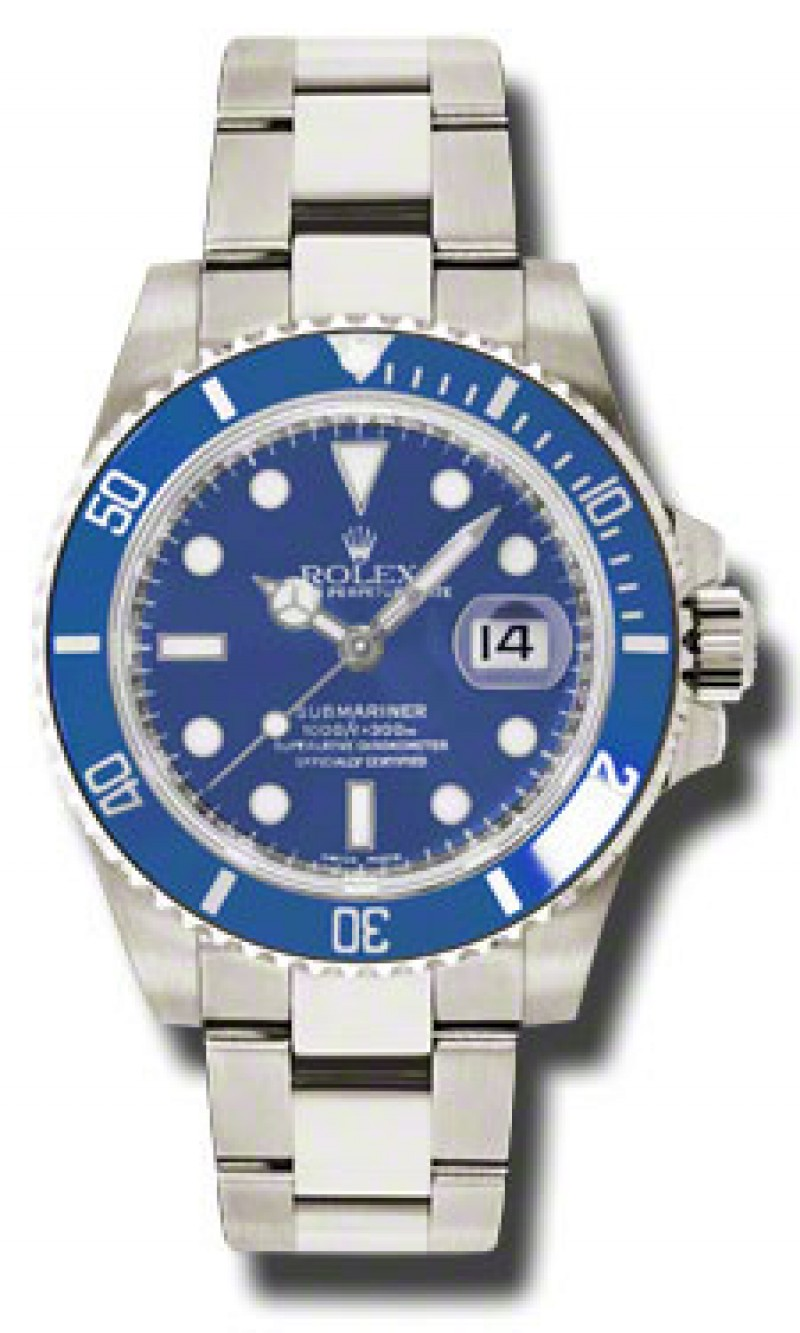 Fake Rolex Submariner Blue Index Dial Mens Watch 116619BLSO