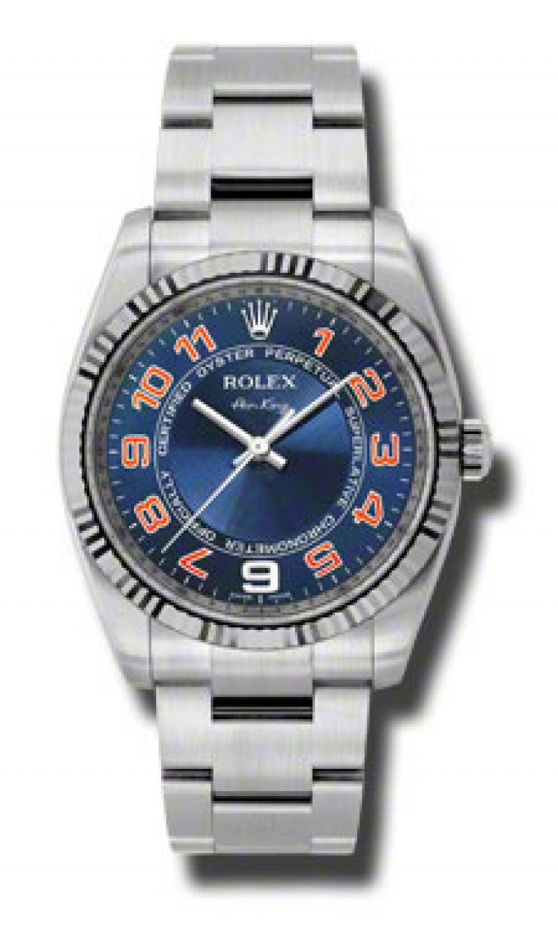 Fake Rolex Air king Blue Concentric Arabic Dial Mens Watch 114234BLCAO