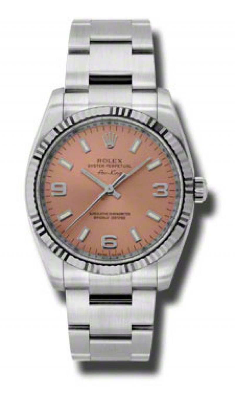 Fake Rolex Air king Pink Arabic and Stick Dial Mens Watch 114234PASO