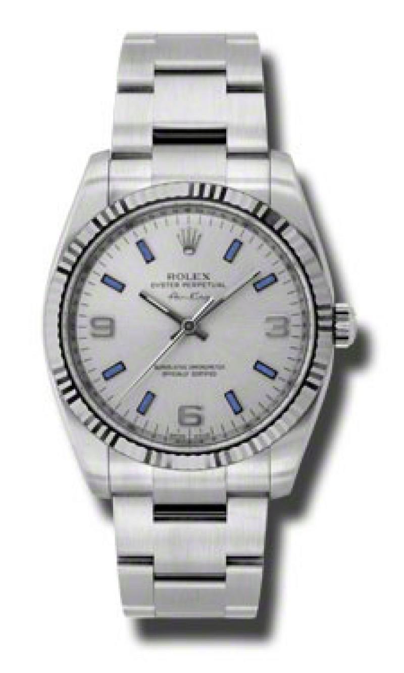 Fake Rolex Air king Silver Arabic Blue Stick Dial Mens Watch 114234SABLSO
