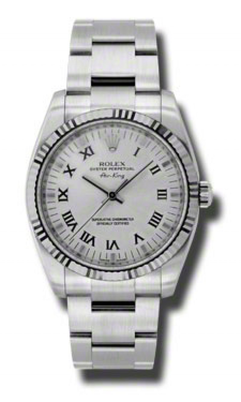 Fake Rolex Air king Silver Roman Dial Mens Watch 114234SRO
