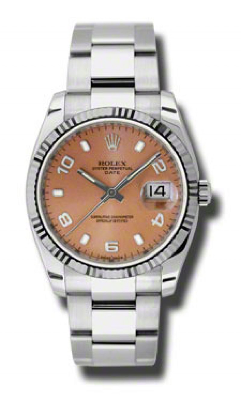 Fake Rolex Oyster Perpetual Date Pink Arabic Stick Dial Mens Watch 115234PASO