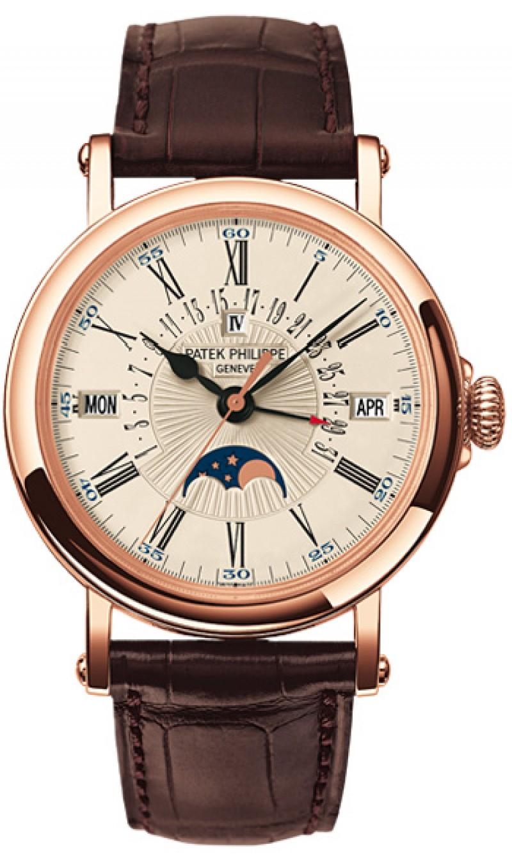 Replica Patek Philippe Perpetual Calendar Rose Gold Mens Watch 5159R-001