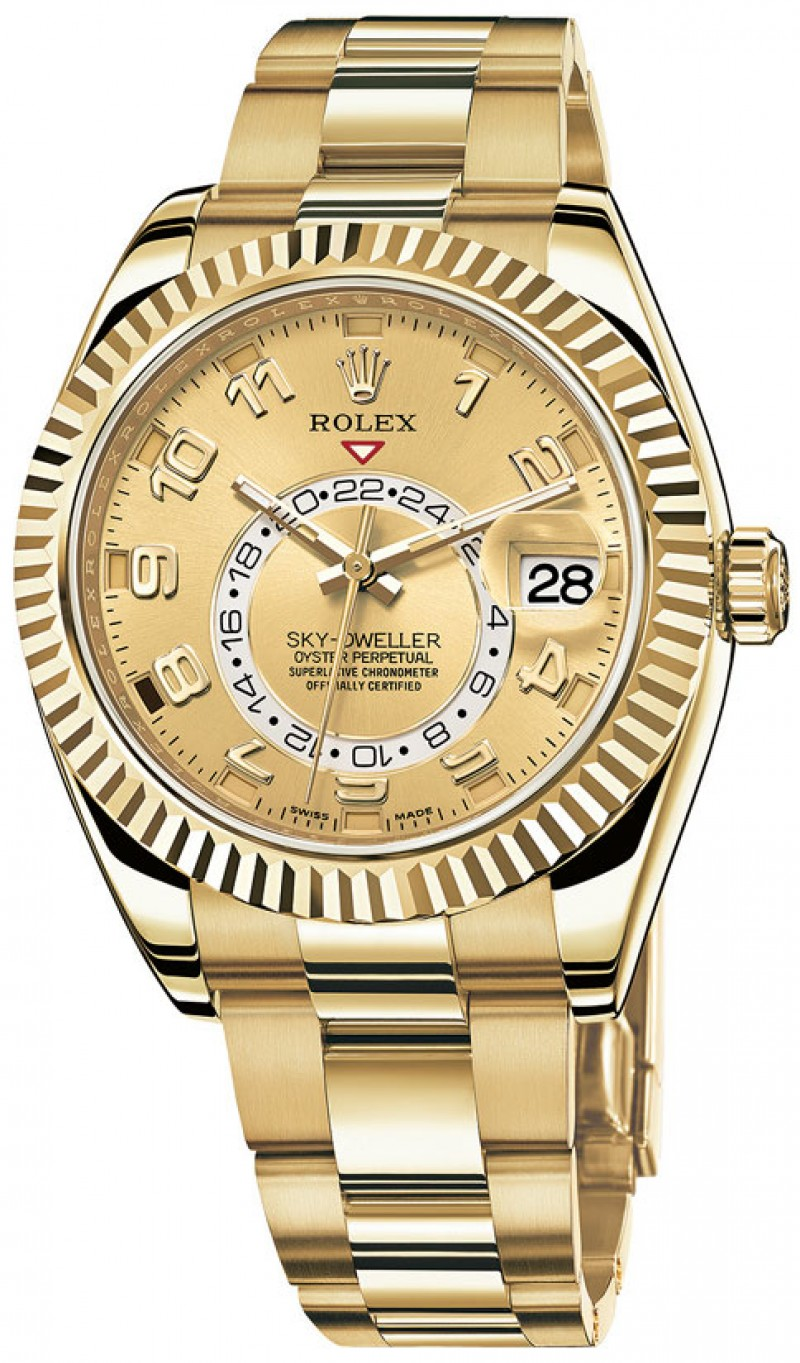Fake Rolex Sky Dweller Champagne Dial GMT Mens Watch 326938CAO