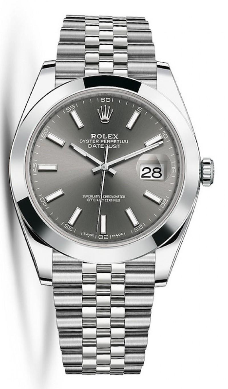 Fake Rolex Datejust 41 Dark Rhodium Dial Mens Watch M126300-0008